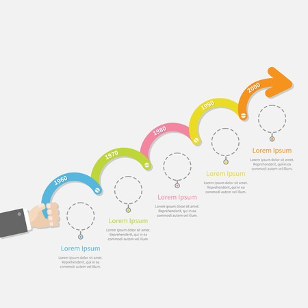 business growth: Hand holding five step Timeline Infographic upwards arrow with screw dash line circles and text. Template. Flat design. Vector illustration