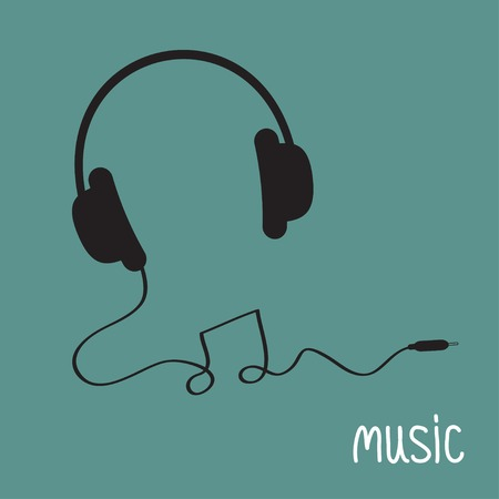 Black headphones with cord in shape of note Music background card. Flat design  Vector illustration. Vector
