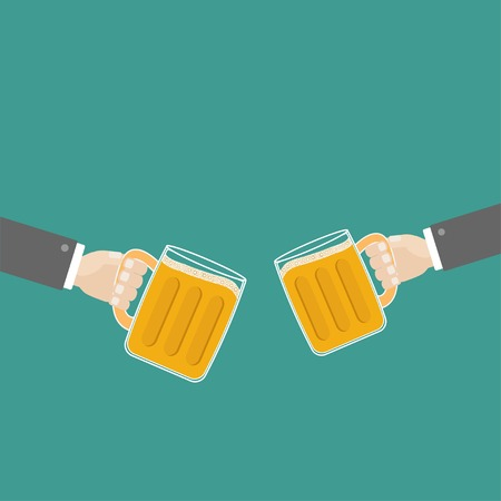 froth: Two hands and clink beer glasses mug with foam cap froth bubble. Flat design Vector illustration