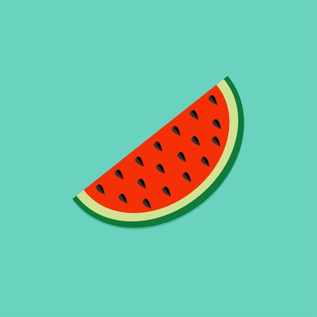 slice: Big watermelon slice cut with seed Flat design icon Summer blue background Vector illustration