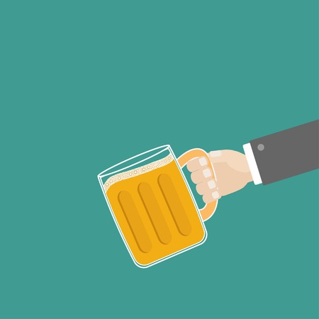 froth: Hand and clink beer glasses mug with foam cap froth bubble. Flat design Vector illustration