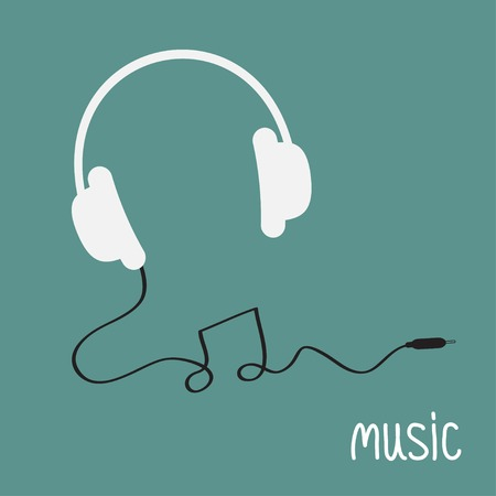 White headphones with black cord in shape of note word Music background card. Flat design  Vector illustration. Vector