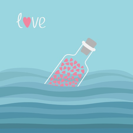 bung: Wine bottle with hearts inside in the ocean sea water and waves. Word Love background. Vector illustration