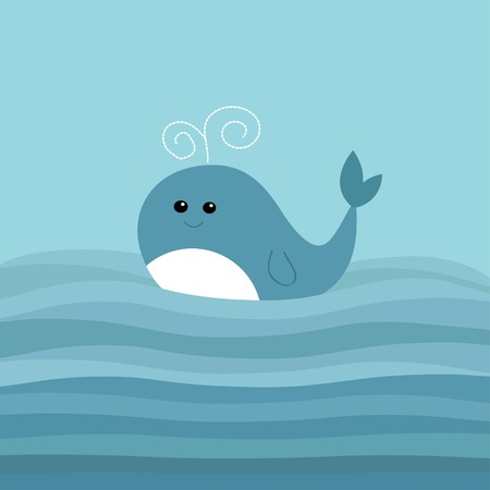 Cartoon whale in the ocean with blue waves Kids background Flat design Vector illustration Vettoriali
