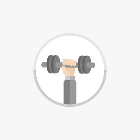 dumbell: Mano con dumbell Icona Rotonda Sport Fitness Healthy lifestyle concept Design piatto vettore Vettoriali