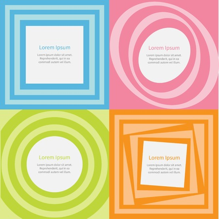 pulsing: Abstract background set Optical illusion of the movement Round Square Template Flat sesign Vector illustration