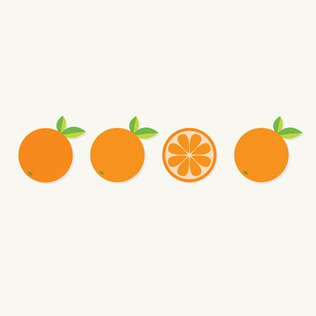 Orange fruit set with leaf in a row. Cut half Healthy lifestyle background Flat design Vector illustration
