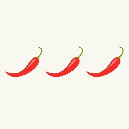 jalapeno: Hot Red Chili Jalapeno Pepper in a row Isolated White background Flat design Vector illustration Illustration