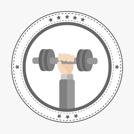 dumbell: Mano che tiene Icona dumbell rotonda con le stelle Sport Fitness concetto stile di vita sano Design piatto Illustrazione vettoriale Vettoriali