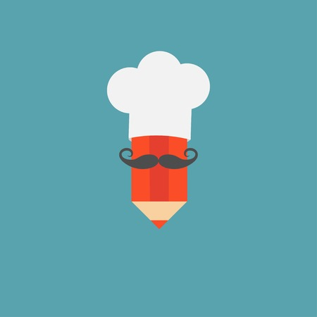 big hat: Chef hat and big mustache with pencil. Menu card. Recipe concept. Flat design style. Vector illustration