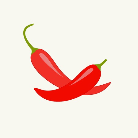 Hot Red Chili Jalapeno Pepper set Isolated White background Flat design Vector illustration