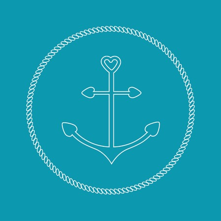 nautic: Anchor in shapes of heart. Round rope frame label icon Blue background. Flat design Vector illustration