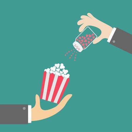 popcorn: Palomitas. Mano de empresario. Shacker Sal con corazones. Icono de Cine en estilo dise�o plano. Ilustraci�n vectorial