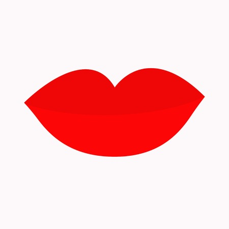 plump lips: Big full thick red lips on white background. Isolated Flat design Vector illustration