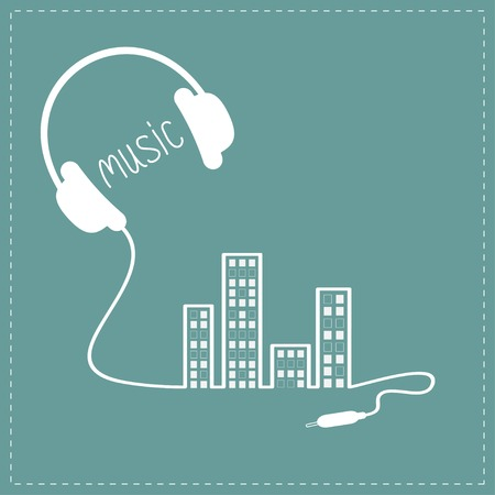 office romance: Headphones cord in shape of equalizer building house with swith on light windows Music background card. Outline icon. Flat design Vector illustration.