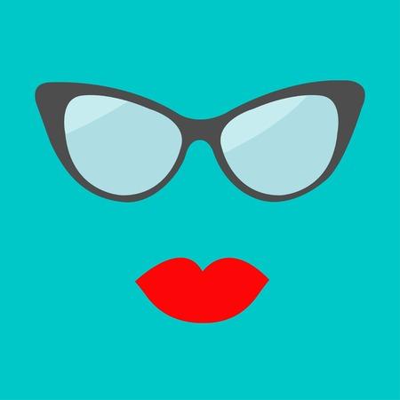 plump lips: Women glasses and red lips set. Fashion background Flat design. Vector illustration Illustration