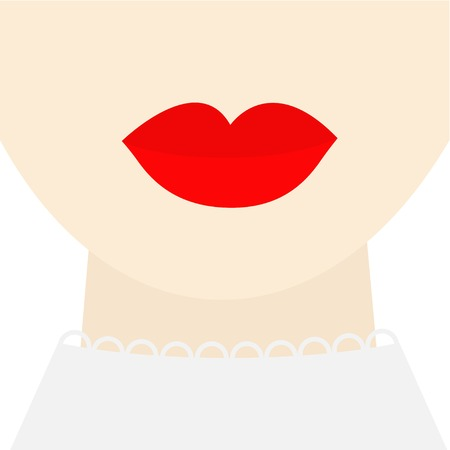 plump lips: Fashion woman face with big thick red lips neck collar Flat design Vector illustration