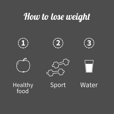 step fitness: Three step weight loss infographic. Healthy food, sport fitness, drink water icon. Outline effect. Flat design  Vector illustration Illustration