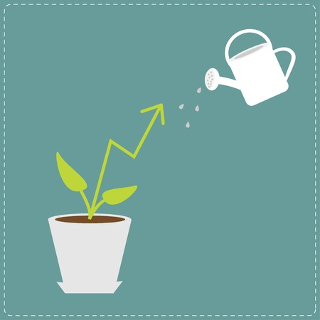 plant pot: Diagram arrow plant in the pot and watering can. Financial growth concept. Flat design Business Illustration
