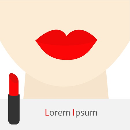 plump lips: Woman face with big thick red lips and neck Lipstick rouge Template Flat designVector illustration