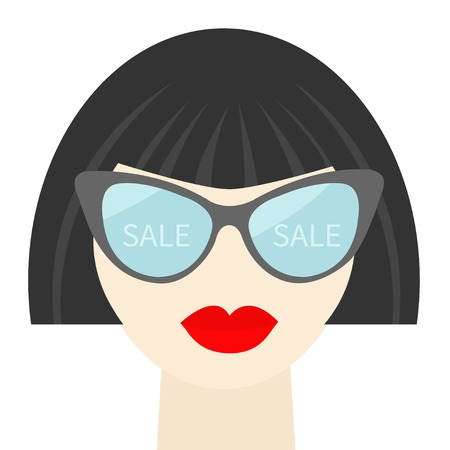 plump lips: Fashion brunet woman face with sexy red lips, sale into sunglasses, long neck Flat design Vector illustration