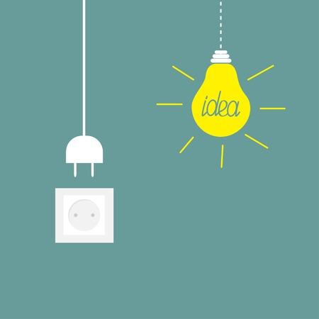 enchufe de luz: Colgante bombilla amarilla, zócalo, enchufe del cable. Concepto de la idea. Diseño de ilustración vectorial Flat.