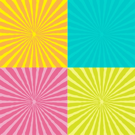 ray of light: Sunburst set with wave ray of light. Template. Four abstract background. Vector illustration