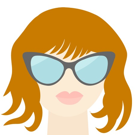 plump lips: Fashion red woman face with sexy nude lips, sunglasses, long neck Flat design Vector illustration