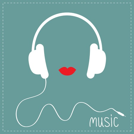 White headphones with cord. Red lips Music card. Flat design  Vector illustration.