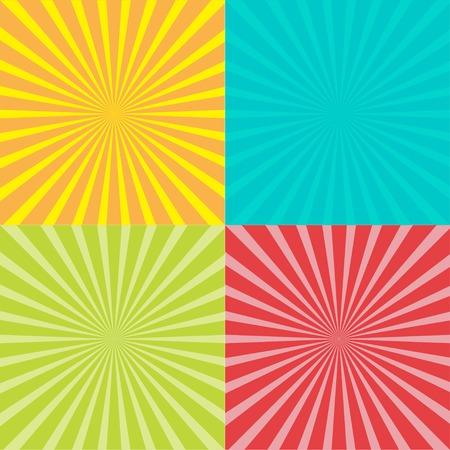 サンバーストの光線を使用して設定します。テンプレートです。4 つの抽象的な背景。ベクトル図