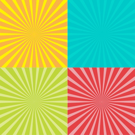 Sunburst set with ray of light. Template. Four abstract background. Vector illustration Stock Illustratie