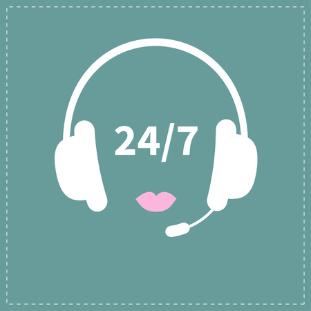 answering phone: Headphones with microphone Pink lips Non stop 24 7 customer service Support operator help icon Flat design Vector illustration