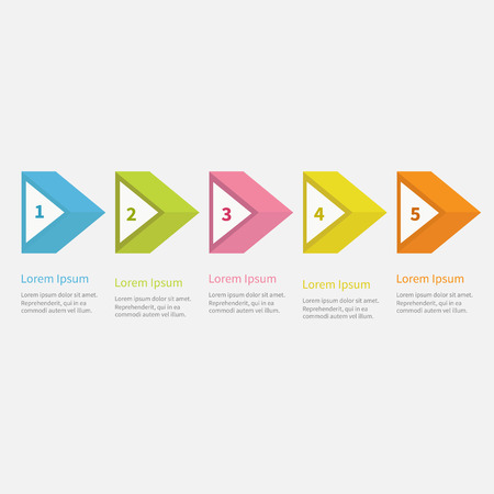 3d triangle: Infographic five step  with 3d triangle arrow and text. Template. Timeline Flat design. Vector illustration Illustration