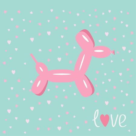 hintergrund liebe: Dog Ballon Tier Pink hearts Bue Hintergrund Lovecard Wohnung Design Vektor-Illustration