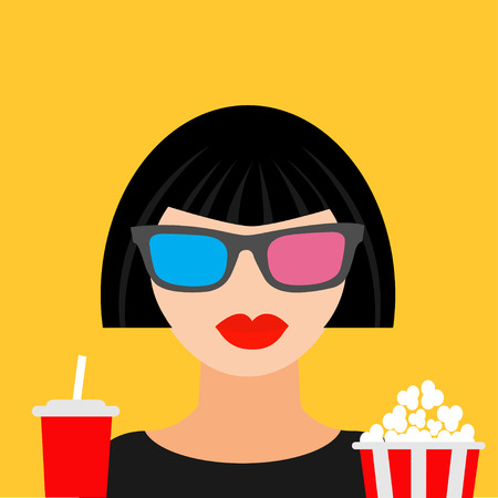 brunet: 3D glasses big popcorn and soda. Brunet girl at the Cinema theatre Flat dsign style icon. Vector illustration