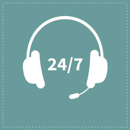 stop: Headphones with microphone Non stop 24 7 customer service Support operator help icon Flat design Vector illustration