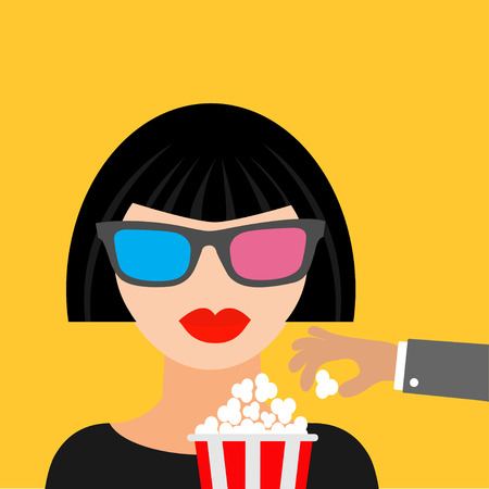 брюнет: Брюне девушка в театре кино в 3D-очки для рук украсть попкорн. Черное платье с плоским dsign икона стиля. Векторная иллюстрация