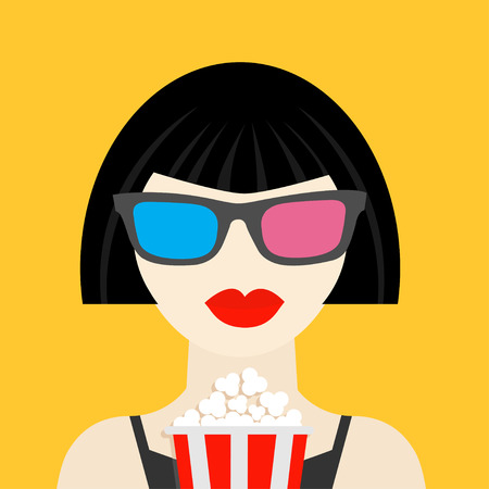 palomitas: Gafas 3D y grande de palomitas de maíz. Chica Brunet en el icono vestido Negro estilo dsign plana teatro Cinema. Ilustración vectorial