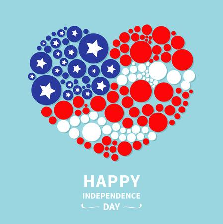 independencia: Coraz�n punto redondo bandera Star y despojar d�a de la independencia feliz Estados Unidos de Am�rica. 4 de julio. Dise�o plano Vector ilustraci�n Vectores