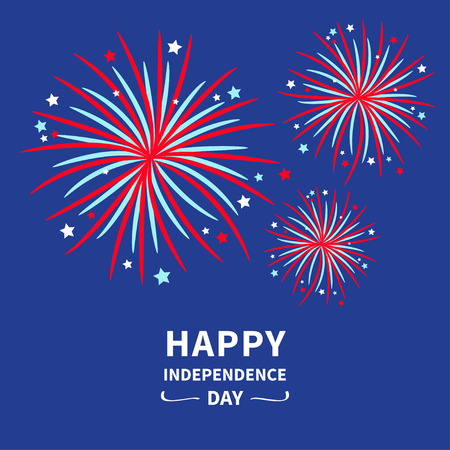 fuegos artificiales: Feliz día de la independencia los estados Unidos de América. 4 de julio. Fuegos artificiales de la estrella y tiras Diseño plano Vector ilustración