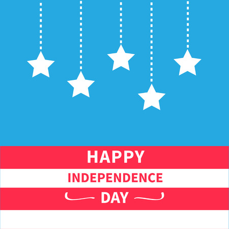 independence: Hanging stars Srip background Happy independence day United states of America. 4th of July. Flat design  Vector illustration