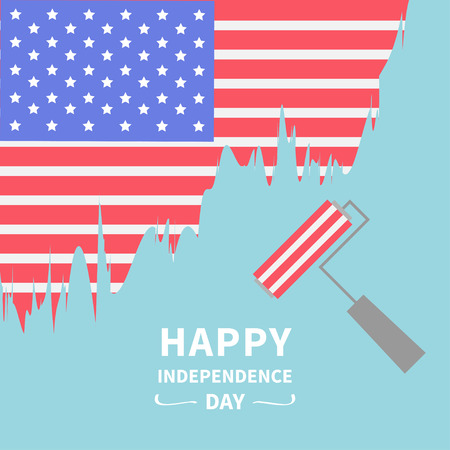 blue roller: Paint roller brush Star and strip flag Blue background Happy independence day United states of America. 4th of July. Flat design  Vector illustration Illustration