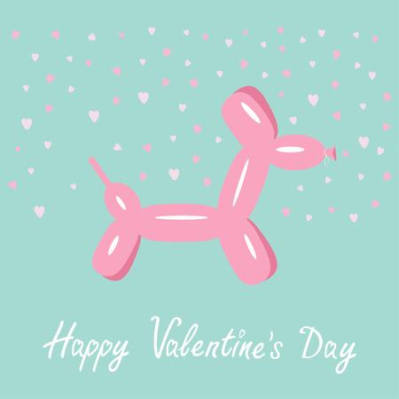 dog days: Animal del globo perro Fondo rosado corazones Bue feliz día de San Valentín Diseño plano Vector ilustración
