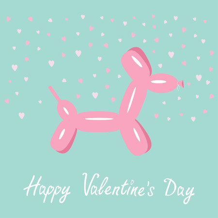 child and dog: Dog balloon animal Pink hearts Bue background Happy Valentines day Flat design Vector illustration Illustration