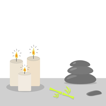 spa stone: Spa stones pyramid Candles and bamboo Stone therapy White background Flat design Vector illustration