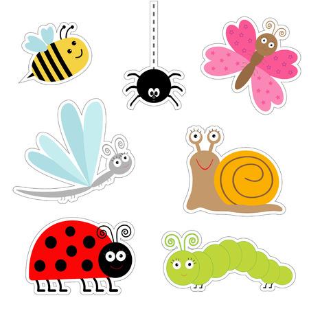 かわいい漫画の昆虫のステッカー セット。てんとう虫、トンボ、蝶、毛虫、クモ、カタツムリ。分離されました。フラット デザイン ベクトル イラ