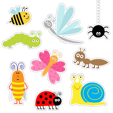 かわいい漫画の昆虫のステッカー セット。てんとう虫、トンボ、蝶、冬虫夏草、蟻、蜘蛛、ゴキブリ、カタツムリ。分離されました。フラット デザ