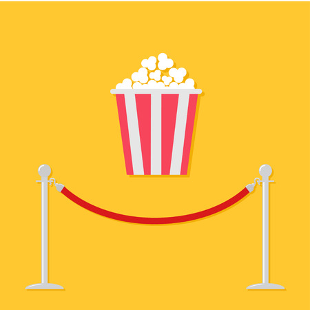 rope barrier: Red rope barrier stanchions turnstile Popcorn. Cinema icon in flat design style. Vector illustration