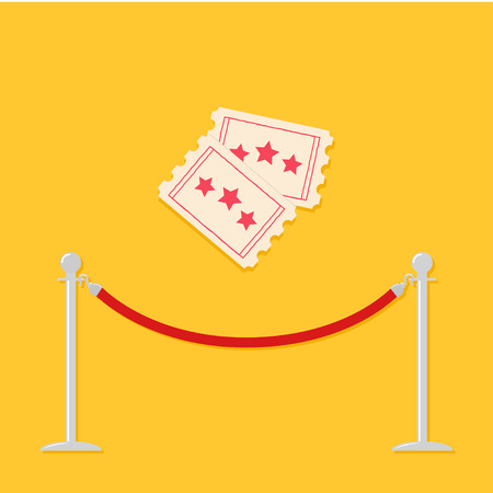 stanchion: Red rope barrier stanchions turnstile Two tickets. Cinema icon in flat design style. Vector illustration
