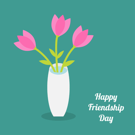 friendship day: Happy Friendship Day Bouquet of pink tulip flowers in a vase. Flat design. Vector illustration
